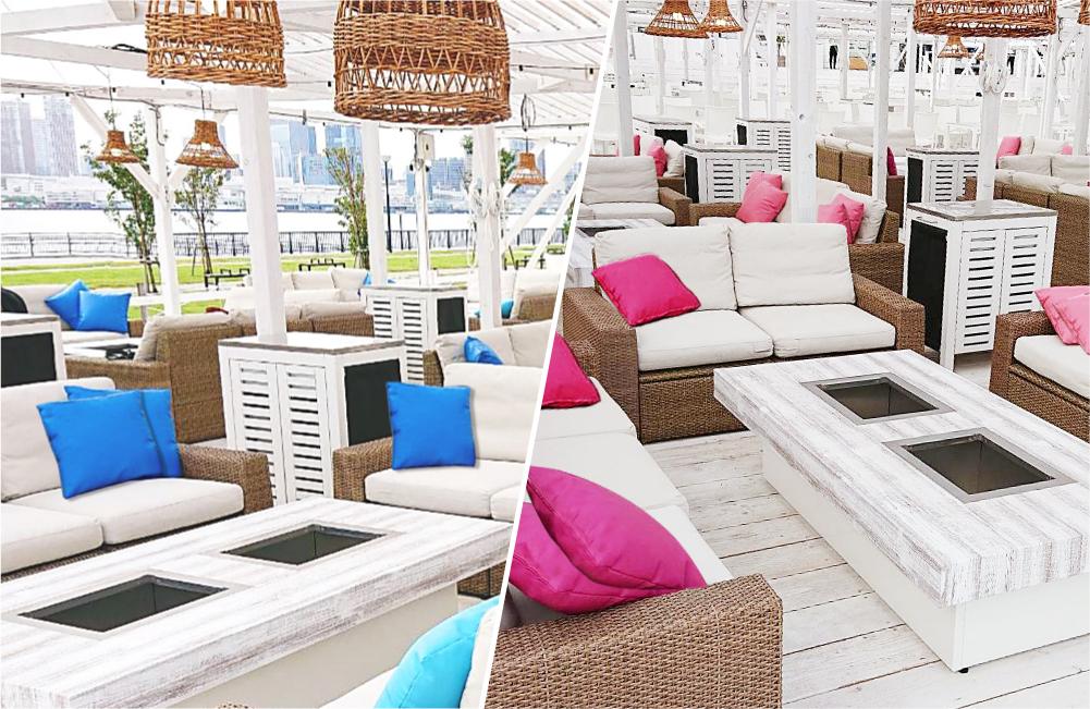 【ラグジュアリーゾーン】 白砂エリア・ステージ横、ソファーでゆったり贅沢な席 全240席(8名/1テーブル)